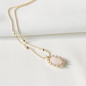 Kendra Scott Brett Long Necklace Rock crystal gold